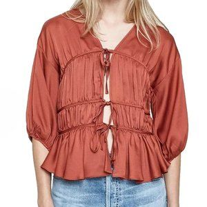 Brick red ruched tie up vintage vibe blouse top